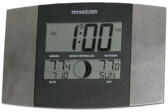 radio-controlled clock and thermometer